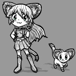 Magicat Girl - Myan in cat and catgirl form