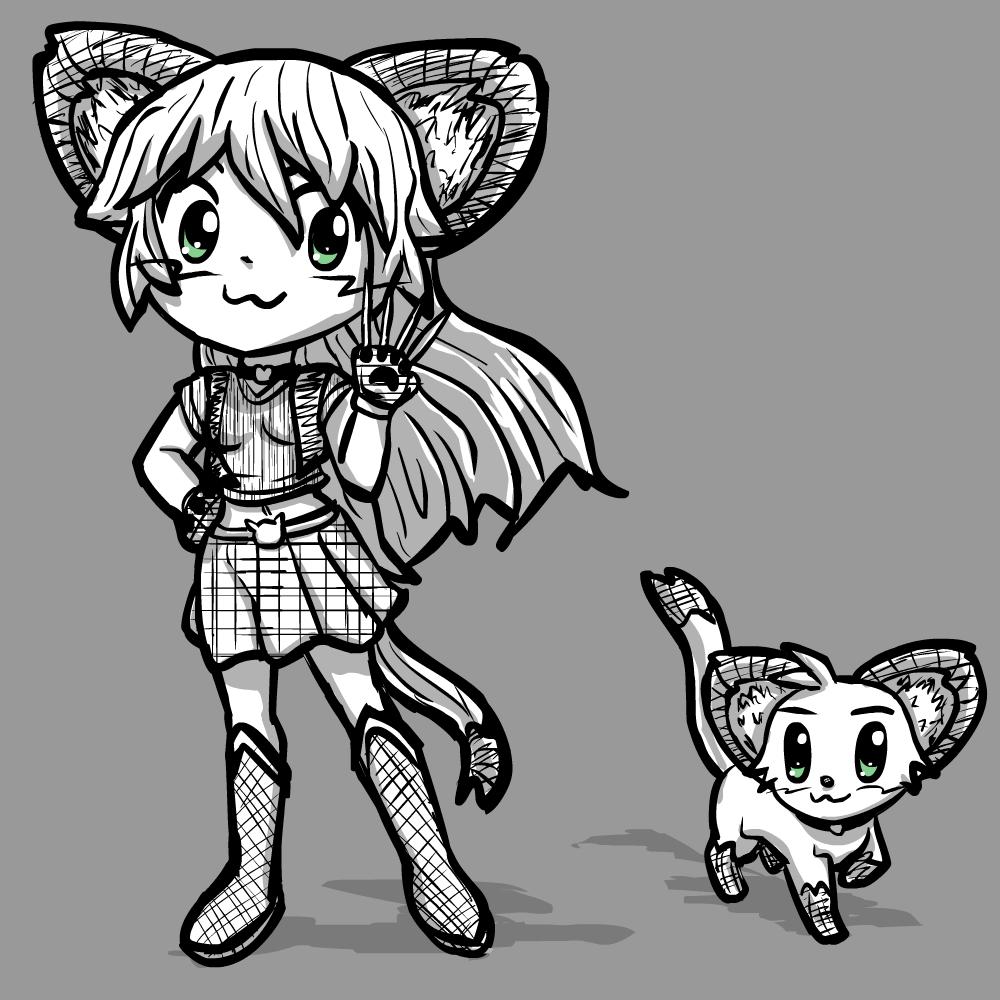Magicat Girl - Myan in cat and catgirl form