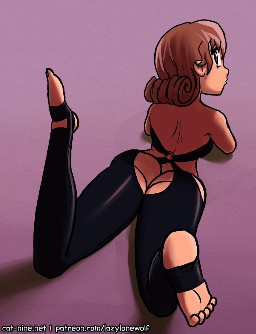 Colored drawing of Rallidae lying down in a bodysuit lingerie.