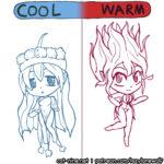 Bonus/concept art of tawlis in different forms according to temperature
