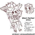 Bonus art and concept artwork of Magicat Myan in Black Panther Witch form