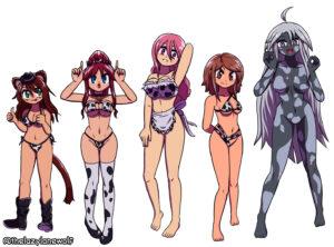 Bonus artwork of Myan, Tammy, Hibi-Hibi, Rallidae, and Haliya as cowgirls with bikinis