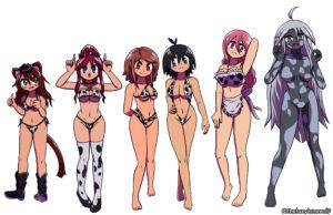 Bonus artwork of Myan, Tammy, Rallidae, femKeith/Kate, Hibi-Hibi and Haliya as a group while wearing cow-pattern bikinis